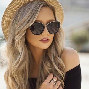 Accessories - Cat Eye Black Gold Rim Sunglasses